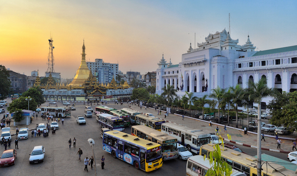 The streets of downtown Yangon overlooking City Hall and Sule Pagoda