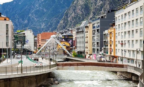 Valira river in Andorra la Vella, Andorra
